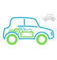 the sign of the electric vehicle green and blue vector image