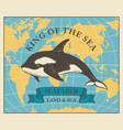 travel banner with killer whale and world map vector image