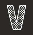 V alphabet letter with white polka dots on black vector image vector image