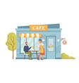 waiter serve client at table cartoon street cafe vector image