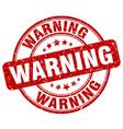warning red grunge round vintage rubber stamp vector image vector image