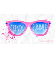 watercolor pink sunglasses on a crumpled paper vector image vector image