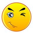 winking yellow emoticon icon cartoon style vector image vector image