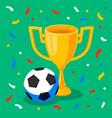 winner gold cup football ball and confetti on vector image vector image