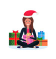 woman red hat sitting lotus pose gift box vector image vector image