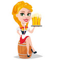 oktoberfest with sexy redhead girl sitting on vector image