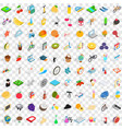100 childhood icons set isometric 3d style vector image vector image