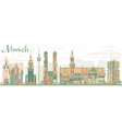 Abstract Munich Skyline with Color Buildings vector image vector image