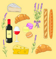 beautiful adorable set with french food vector image vector image