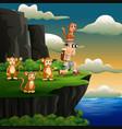 boy using binoculars with a monkeys on cliff vector image
