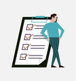businessman leaned on big clipboard paper with vector image