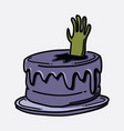 cake zombie hand doodle color icon drawing sketch vector image vector image