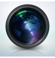 camera lens with globe vector image vector image