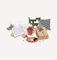 christmas composition gift pillows fir tree vector image vector image