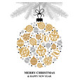 christmas greeting card with baubles ball vector image vector image