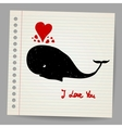 Cute doodle in love whale with hearts vector image vector image
