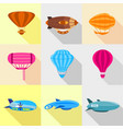 different airships icons set flat style vector image vector image