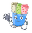 doctor rolled ice creams in cartoon cups vector image vector image