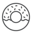 donut line icon food and sweet cake sign vector image