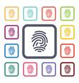 fingerprint flat icons set vector image vector image