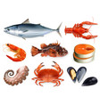 fish crayfish mussels octopus 3d icon set sea vector image