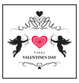 flourish valentines day card with cupids vector image vector image