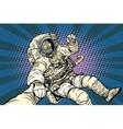 Follow me robot astronaut gesture okay vector image vector image