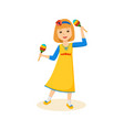 girl in good festive mood playing the maracas vector image vector image