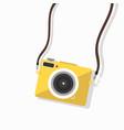 hanging yellow camera mini vector image vector image