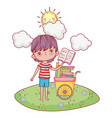 happy little boy with cart of books in the field vector image