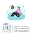 happy people dreaming about something poster vector image vector image