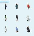 isometric human set of girl medic hostess and vector image vector image
