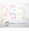light world map with pointer marks vector image vector image