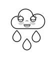 line kawaii nice happy cloud raining vector image vector image