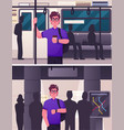 man passenger in subway scene vector image