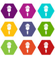 microphone icons set 9 vector image vector image