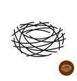 nest logo thin lines empty birds nest isolated vector image