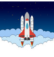 paper cut with rocket shuttle sky clouds vector image