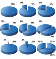 Pie graphs in blue color vector image vector image