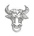 pinzgauer bull head front doodle art vector image vector image