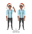 positive black african american guy in santas hat vector image