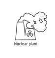 Radioactive smoke and nuclear plant station thin vector image