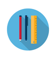 Ruler pen and pencil icon vector image