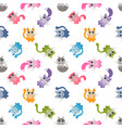 seamless pattern with cute colorful cartoon cats vector image vector image