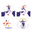 set businesspeople overcome difficulties male vector image vector image
