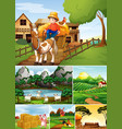 set different farm scenes with animal farm vector image