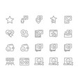 set feedback line icons donation share a vector image