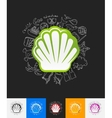 shell paper sticker with hand drawn elements vector image vector image