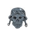 Skull Biker Helmet Drawing vector image vector image