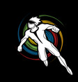 superhero flying action cartoon superhero vector image vector image